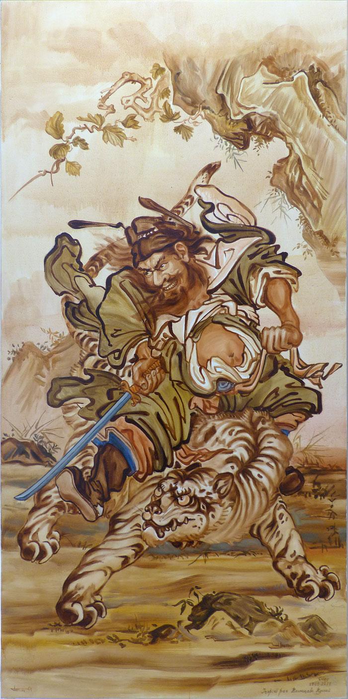 Samourai_Oleg-Petounine_105x210cm_huile-toile_2012